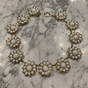 J. Crew White & Gold Flower Necklace
